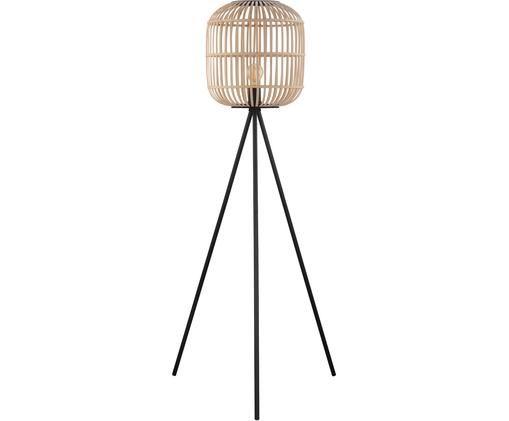 Stehlampe Bordesley, Stahl, Holz, Schwarz, Holz, Ø 35 x H 139 cm