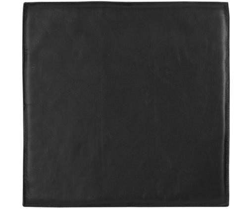 Leder-Sitzauflage Elegance, Vorderseite: 100% Leder, Rückseite: 100% Baumwolle, Schwarz, 40 x 40 cm