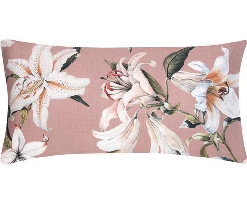 Baumwollsatin-Kissenbezüge Flori mit Blumenprint, 2 Stück, Webart: Satin, Vorderseite: Altrosa, Cremeweiß Rückseite: Alrosa, 40 x 80 cm