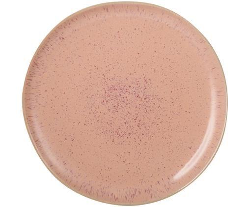 Assiette plate peinte à la main Areia, Tons rouges, blanc cassé, beige clair