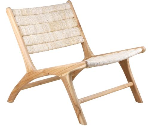 Loungesessel Abaca mit Teakholz-Gestell, Gestell: Teakholz, Beige, B 65 x T 40 cm