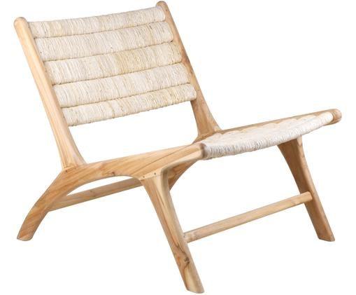 Loungesessel Abaca mit Teakholz-Gestell, Gestell: Teakholz, Beige, B 65 x T 75 cm
