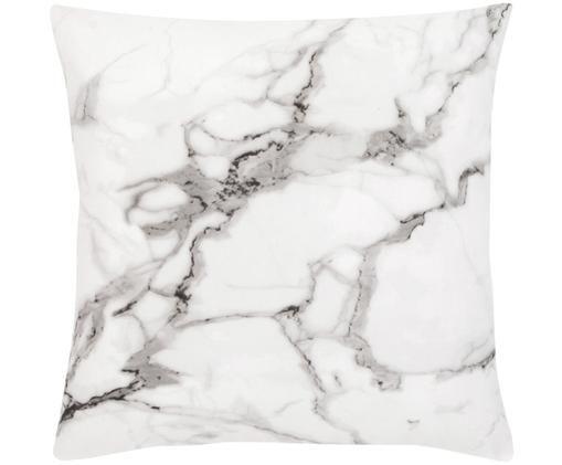 Poszewka na poduszkę Malin, Wzór marmurowy, biały