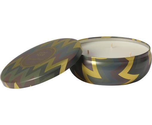 Dreidochtduftkerze Hanneke (Moringablume), Behälter: Metall, Goldfarben, Braun, Grün, Ø 13 x H 6 cm