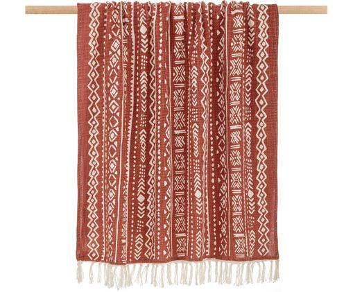 Pled Masai, Bawełna, Złamana biel, brązowy, S 120 x D 180 cm