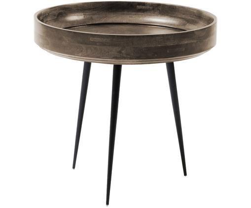 Tavolino in legno di mango Bowl Table, Piano d'appoggio: legno di mango, verniciat, Gambe: acciaio, verniciato a pol, Grigio scuro, nero, Ø 40 x Alt. 38 cm
