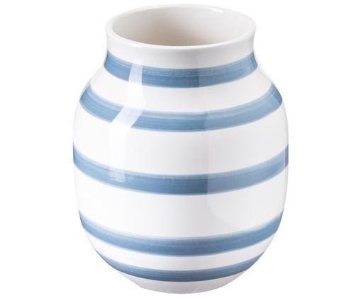 Vase design fait main Omaggio, Bleu ciel, blanc