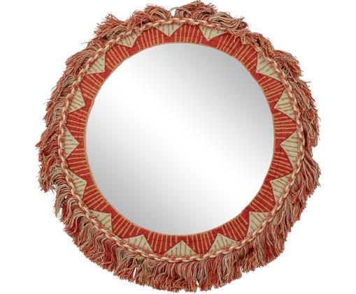 Runder Wandspiegel Lati mit Rahmen aus Baumwolle, Baumwolle, Spiegelglas, Rot, Beige, Ø 50 cm