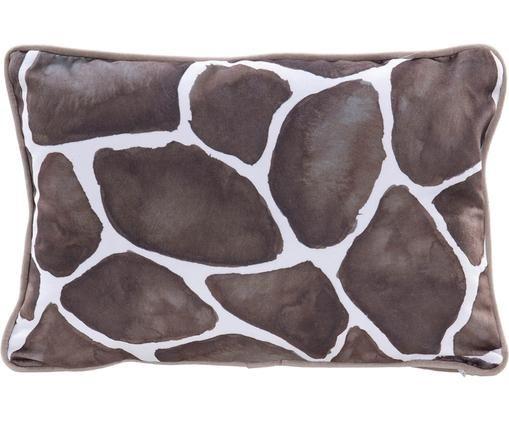 Cuscino in velluto con imbottitura Giraffe, 100% velluto di poliestere, Bianco, marrone, Larg. 30 x Lung. 45 cm