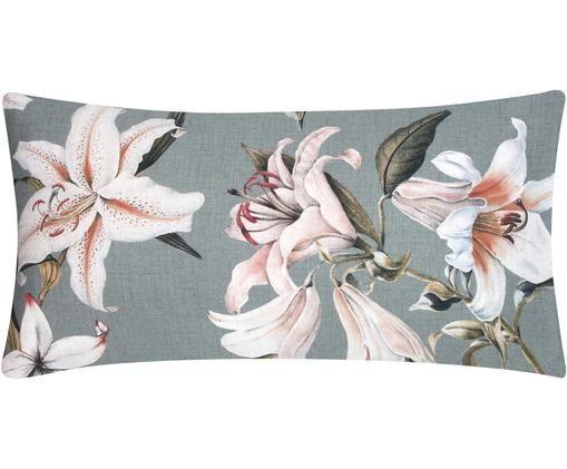 Baumwollsatin-Kissenbezüge Flori mit Blumenprint, 2 Stück, Webart: Satin, Vorderseite: Blau, Cremeweiß Rückseite: Blau, 40 x 80 cm