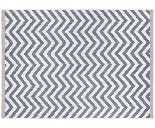 Dwustronny dywan wewnętrzny/zewnętrzny Palma, Niebieski, kremowy, S 120 x D 170 cm