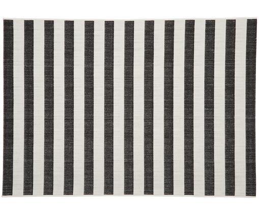 Gestreifter In- & Outdoorteppich Axa, Flor: Polypropylen, Cremeweiß, Schwarz, B 120 x L 170 cm (Größe S)