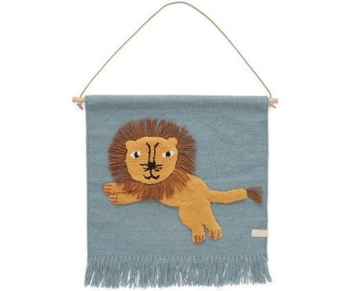 Wandobjekt Lion, Wolle, Baumwolle, Holz, Blau, Orange, Braun, 52 x 55 cm