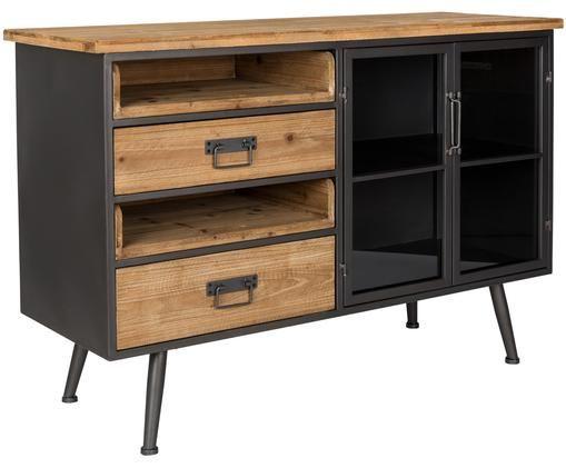 Szafka z szufladami Damian, Podstawa szafki, rama, uchwyty, nogi: szary Szuflady: drewno jodłowe, S 113 x W 75 cm