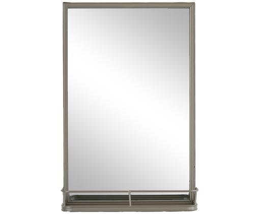 Wandspiegel Tray mit grauem Rahmen und Ablagefläche, Rahmen: Metall, lackiert, Spiegelfläche: Spiegelglas, Grau, 36 x 55 cm