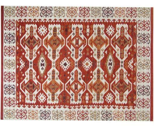 Ręcznie tkany Kelimteppich Ria z wełna, Wełna, Czerwony, beżowy, pomarańczowy, brązowy, S 120 x D 180 cm (Rozmiar S)