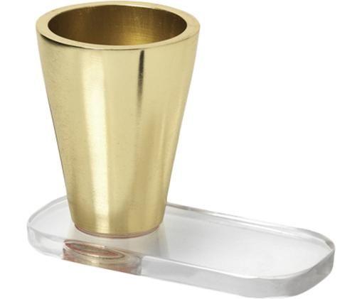 Kerzenhalter Plexi, Aluminium,vermessingt, Acrylglas, Messingfarben, Transparent, Ø 5 x H 7 cm