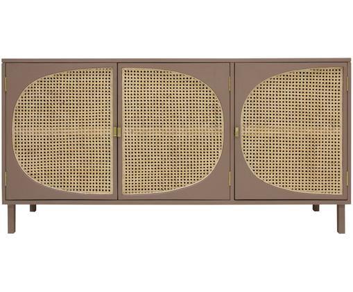 Credenza con intreccio viennese Retro, Intreccio viennese: canna di zucchero, Marrone, beige, Larg. 160 x Alt. 81 cm