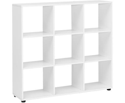 Modernes Standregal Zara in Weiß Matt, Weiß, Schwarz