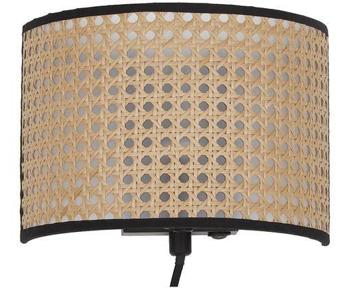 Kinkiet Vienna, Klosz: beżowy, czarny Stelaż lampy: czarny, matowy, S 22 x W 16 cm