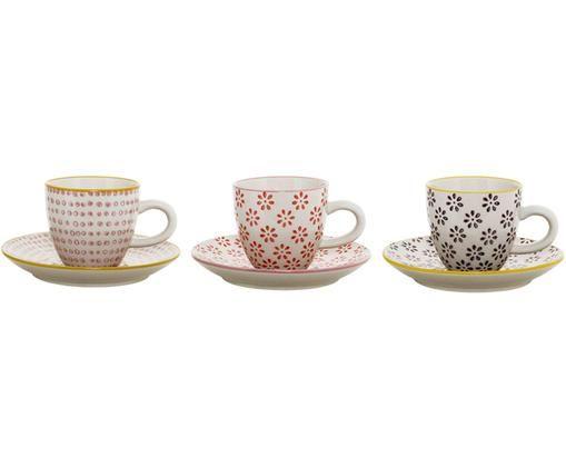 Espressotassen mit Untertassen Line, 3 Stück, Keramik, Weiß, Rot, Rosa, Schwarz, Gelb, Ø 6 x H 6 cm