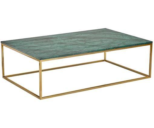 Tavolino da salotto in marmo Alys, Piano d'appoggio: pietra naturale di marmo, Struttura: metallo rivestito, Marmo verde, dorato, Larg. 120 x Prof. 75 cm