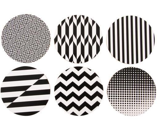 Komplet podstawek Black and White, 6elem., Korek powlekany, Czarny, biały, Ø 10 cm