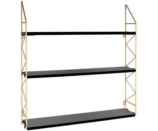 Półka ścienna Zig Zag, Stelaż: metal lakierowany, Stelaż: odcienie złotego Półki: czarny, S 60 x W 60 cm