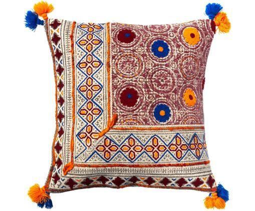 Haftowana poszewka na poduszkę z chwostami Jina, Bawełna, Beżowy, niebieski, żółty, S 45 x D 45 cm