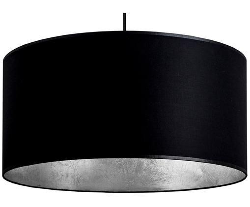 Lampada a sospensione Mika, Paralume: cotone rivestito, Baldacchino: acciaio verniciato a polv, Nero, argento, Ø 50 x Alt. 25 cm