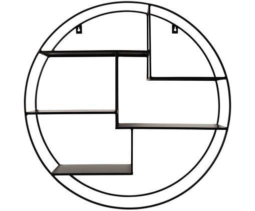 Okrągła półka ścienna z metalu Expo, Metal malowany proszkowo, Czarny, Ø 61 x G 16 cm