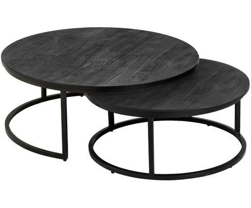 Ensemble de tables basses en manguier Andrew, 2élém., Plateau: bois de manguier, noir laqué Support: noir, mat