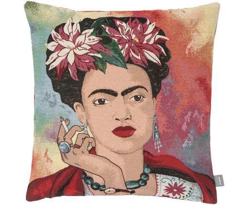 Poszewka na poduszkę Frida Kahlo, 50% bawełna, 45% poliester, 5% poliakrylonitryl, Wielobarwny, S 45 x D 45 cm