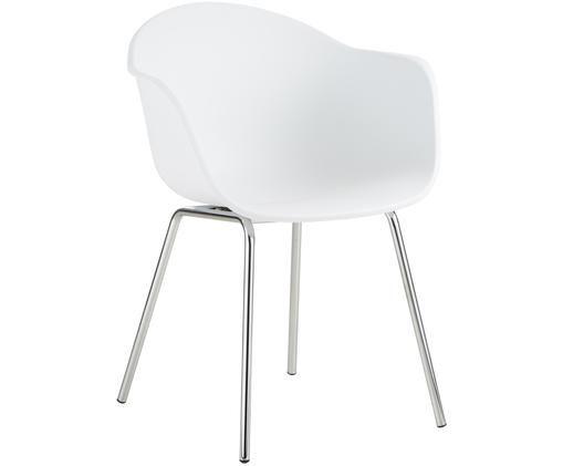 Kunststoff-Armlehnstuhl Claire mit Metallbeinen, Sitzschale: WeißBeine: Silberfarben, glänzend