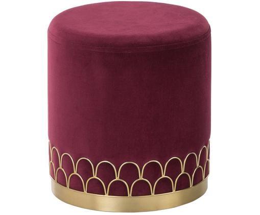 Pouf in velluto Tiara, Rivestimento: velluto, Rosso scuro, Ø 38 x Alt. 42 cm