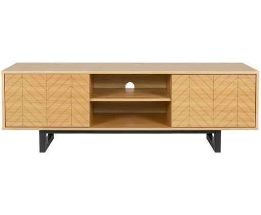 Credenza TV di design con impiallacciatura Camden, Piedini: legno di betulla vernicia, Legno di quercia, Larg. 150 x Alt. 50 cm