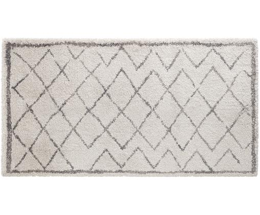 Hochflor-Teppich Grace Diamond mit Rautenmuster, Grau-Creme, Flor: Polypropylen, Creme, Grau, B 80 x L 150 cm (Größe XS)