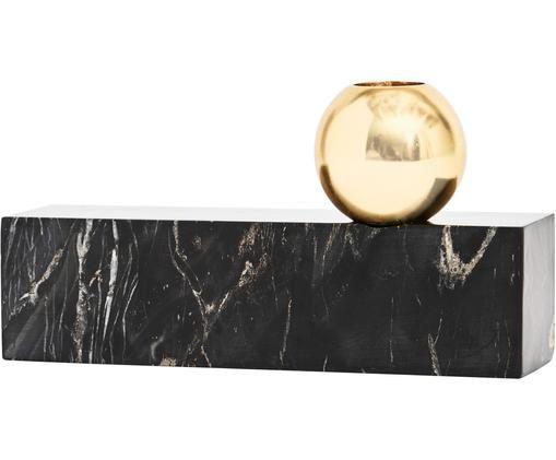 Marmor-Kerzenhalter Tangent, Marmor, Metall, vermessingt, Schwarz, marmoriert, Messing, 16 x 15 cm