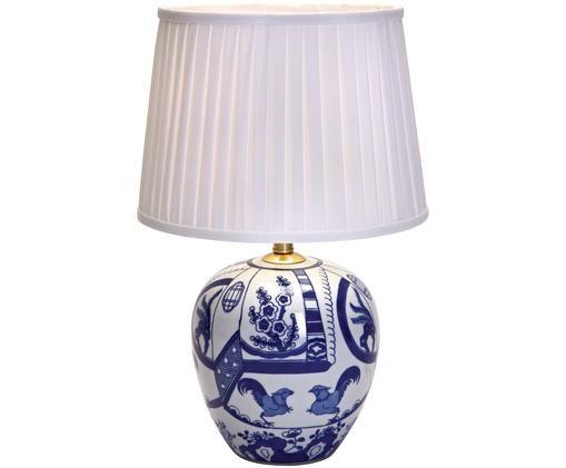 Lampe à poser Göteborg, Pied de lampe: bleu, blanc Abat-jour: blanc