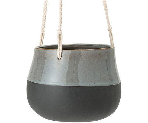 Hangende plantenpot Willi, Pot: keramiek, Grijs, zwart, Ø 18 x H 15 cm