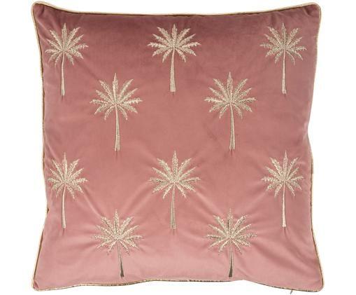 Geborduurde fluwelen kussenhoes Palms met bies, Polyester, Roze, goudkleurig, 45 x 45 cm