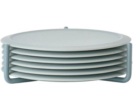 Set 7 sottobicchieri in silicone Plain, Azzurro, Ø 10 cm