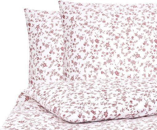 Renforcé-Bettwäsche Anja mit Blumenmuster, Webart: Renforcé, Weiß, Rot, 240 x 220 cm