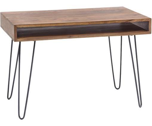 Scrivania in legno e metallo Repa, Gambe: metallo, verniciato, Legno di Sheesham, nero, Larg. 110 x Alt. 76 cm