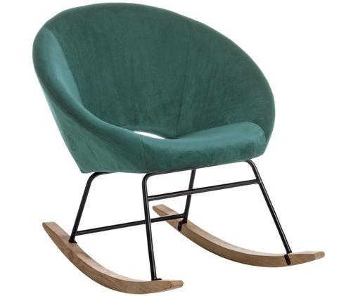 Fluwelen schommelstoel Annika, Pauwblauw