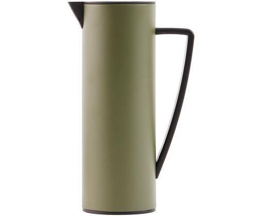 Caraffa sottovuoto Java, Brocca: metallo, rivestito, Coperchio: legno, metallo, rivestito, Verde oliva, nero, 1 l
