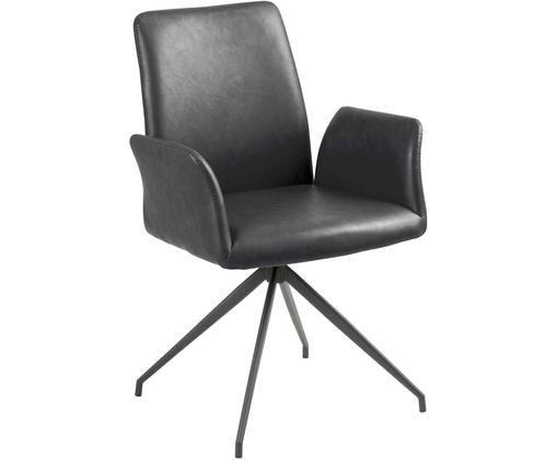 Chaise pivotante en cuir synthétique Naya, Noir