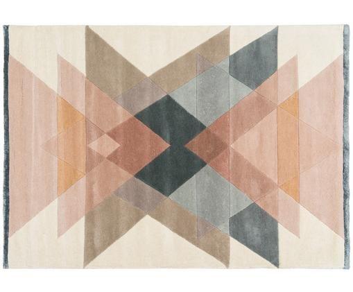 Tapis design en laine tufté à la main Freya, Tons beiges, rose, bleu-gris