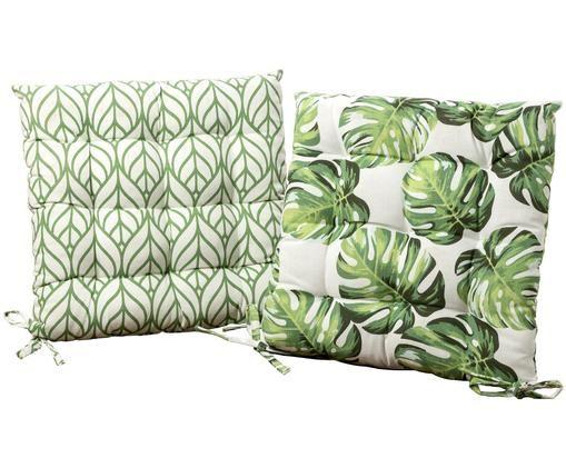 Sitzkissen-Set Tropica, 2-tlg., Bezug: 65% Baumwolle, 35% Polyes, Grün, Weiß, 35 x 35 cm