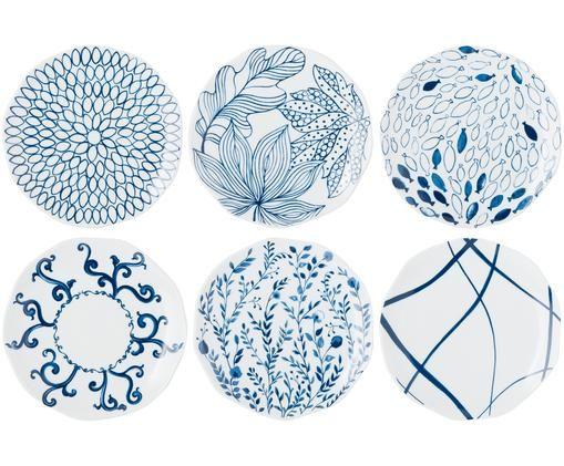 Set piatti da dessert Vassoio, 6 pz., Porcellana, Blu, bianco, Ø 20 cm